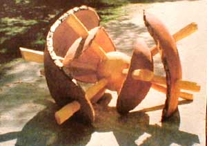 """Kosmos"" wood sculpture"